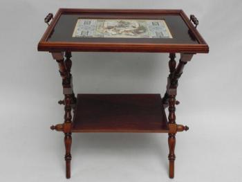 Serving Trolley - solid walnut wood, porcelain - 1890